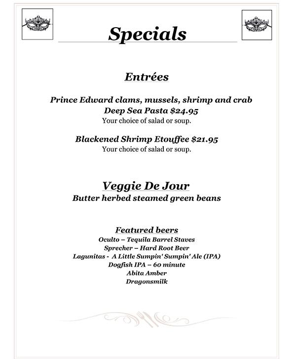 Bourbon Street Specials